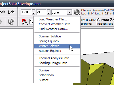 Select the date you wish to use for projecting the solar profile.