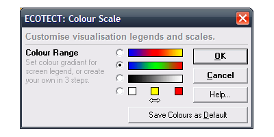 You can customise the colour scale used for the analysis grid.