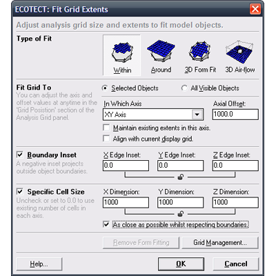 The Fit Grid to Objects dialog box.