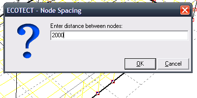 Setting the node spacing for a series of nodes.