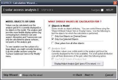 Select the Objects in Model calculation option. Also check the Only Use Selected Objects checkbox option.