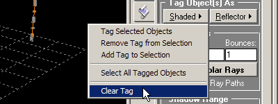Select Clear Tag to reset shadows and relfections to normal.