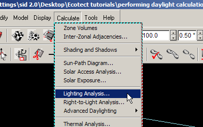 Select the Lighting Analysis item from the Calculate menu.