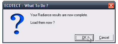 Click OK to proceed with the RADIANCE data import.