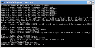 The RADIANCE command prompt dialogue box.
