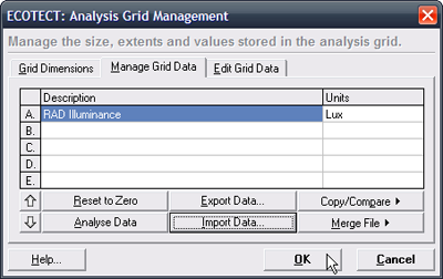 The RADIANCE point data is loaded into the analysis grid.