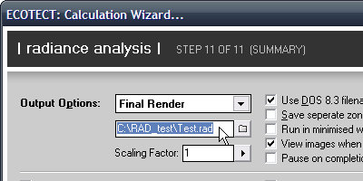 The RADIANCE output location is specified on the summary page of the RADIANCE analysis wizard.