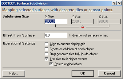 Use the following settings for the surface subdivision.