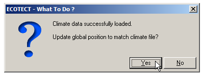 Click Yes to update the global position.