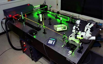 Figure 7 - An emerald laser test rig.